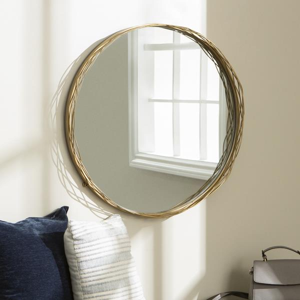 "32"" Modern Round Wall Mirror - Gold"