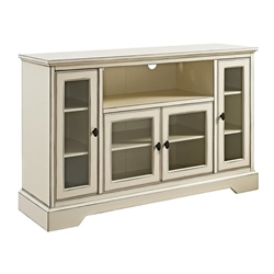 "52"" Transitional Glass Wood TV Stand - Antique White"