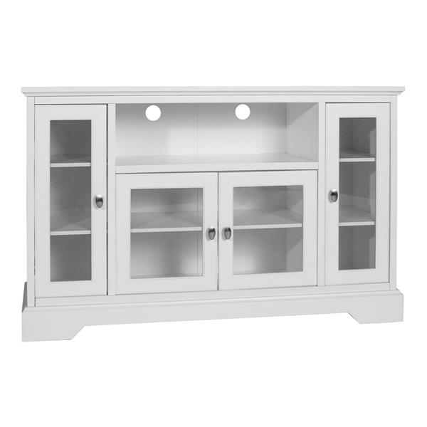 "52"" Transitional Glass Wood TV Stand - White"