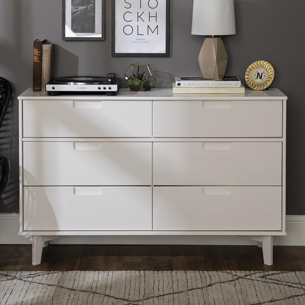 6-Drawer Groove Handle Wood Dresser - White