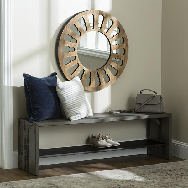 "32"" Rustic Round Wood Wall Mirror – Natural Wash"