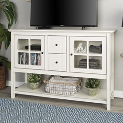 "52"" Transitional Wood Glass TV Stand Buffet - Antique White"