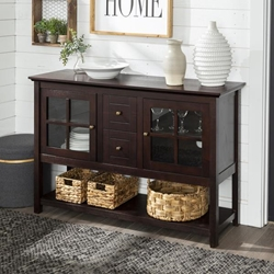 "52"" Transitional Wood Glass TV Stand Buffet - Espresso"