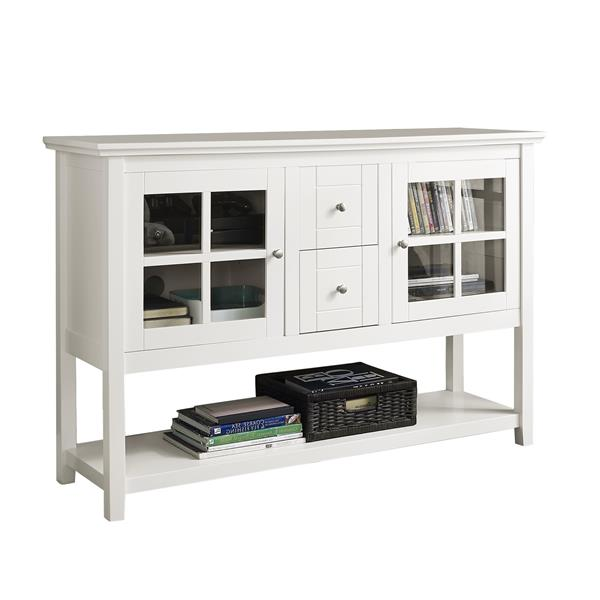 "52"" Transitional Wood Glass TV Stand Buffet - White"