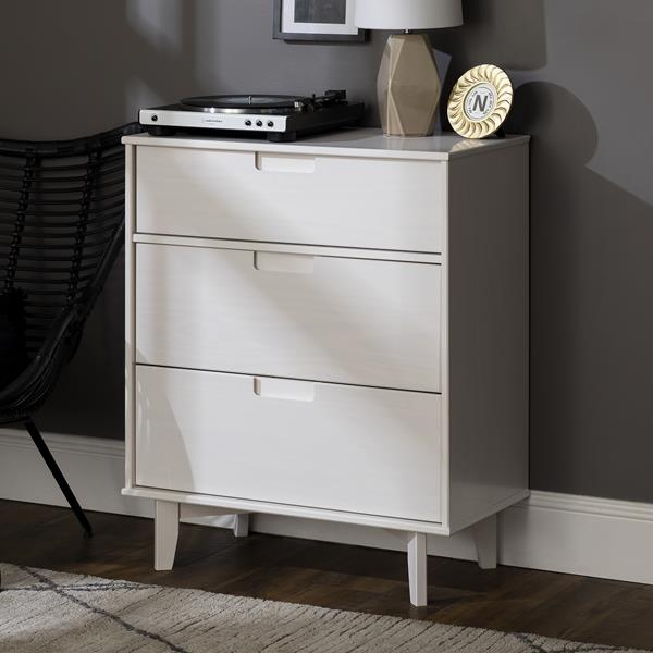3-Drawer Groove Handle Wood Dresser - White