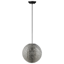 Modern Globe Hanging Pendant Light - Nickel