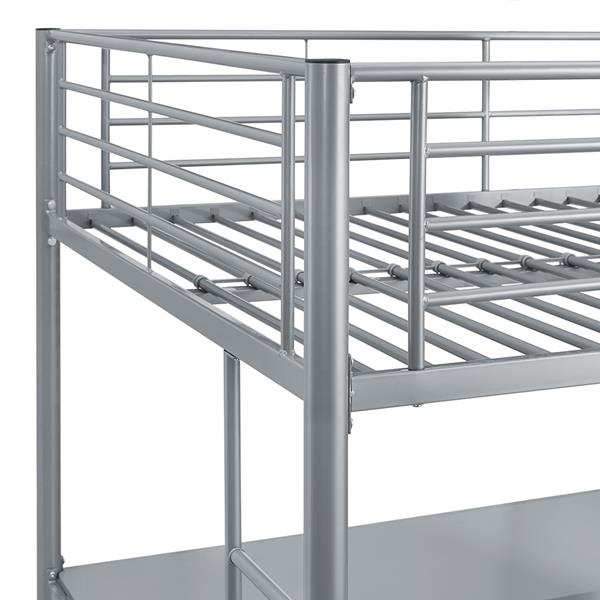 Premium Metal Full Size Loft Bed - Silver