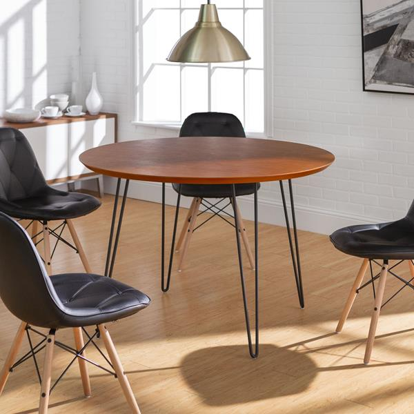 5 Piece Mid Century Modern Wood Round Dining Table Set  - Style A