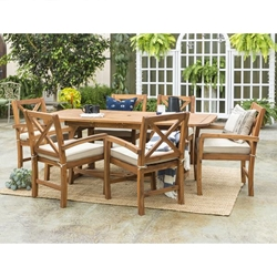 Patio 7 Piece Dining Table Set - Brown
