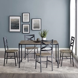 5-Piece Angle Iron Dining Set With X Back Chairs - Grey Wash