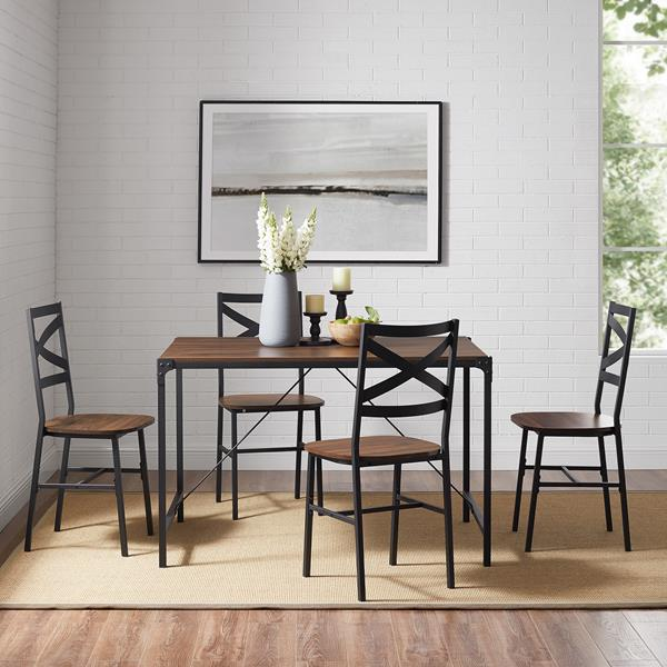 5-Piece Angle Iron Dining Set With X Back Chairs- Dark Walnut
