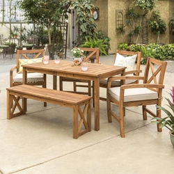 Patio 6 Piece Dining Table Set - Brown
