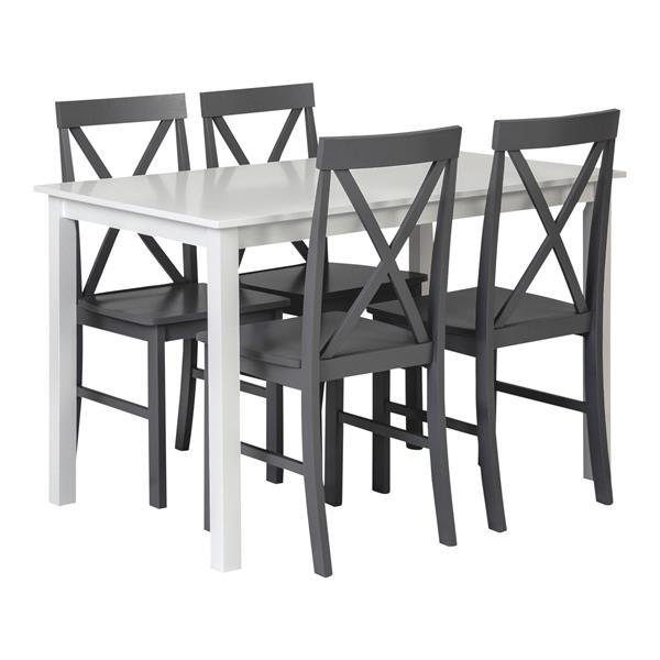 5-Piece Solid Wood Farmhouse Dining Set - White & Grey