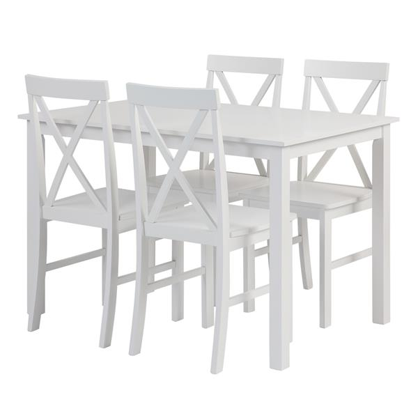 5-Piece Solid Wood Farmhouse Dining Set - White & White