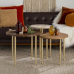 3 Piece Round Nesting Coffee Table Set - Dark Walnut