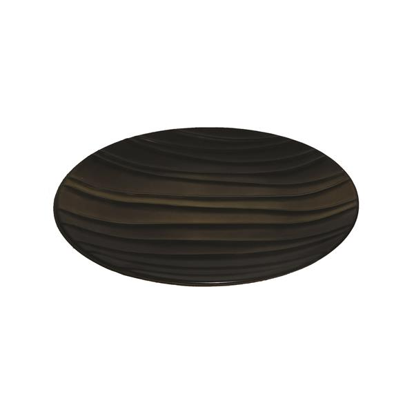 Decorative Ceramic Plate - Brown With Golden Highlights