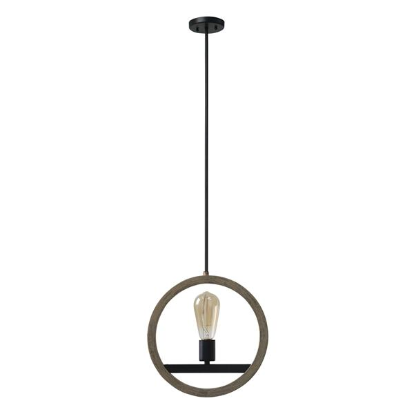 One Light Pendant - Black & Brown