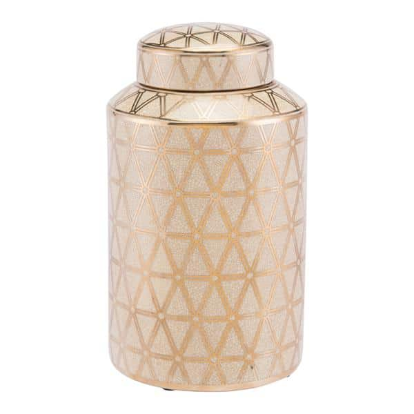 Link Covered Jar Medium Gold And Yellow