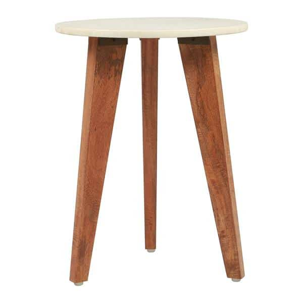 Axton End Table White Marble & Wood