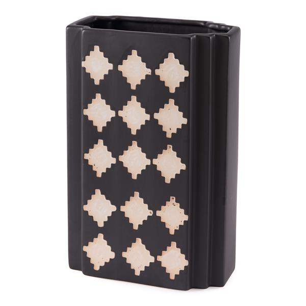 Pampa Rectangular Vase Large Black & Beige