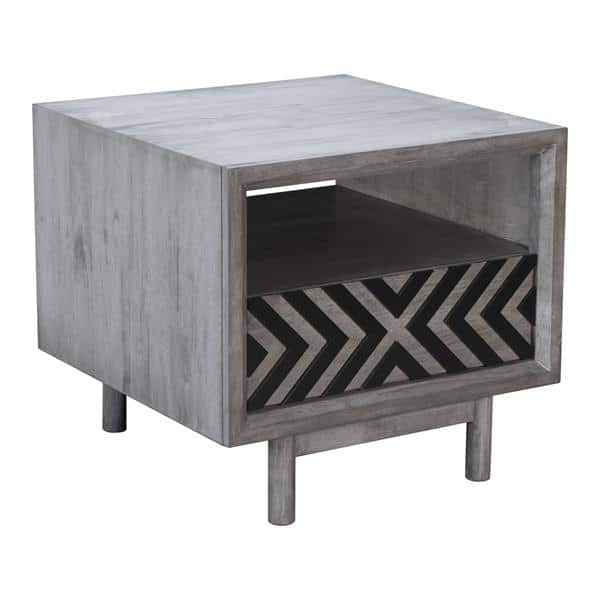 Raven End Table Old Gray