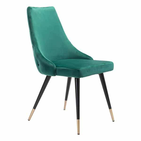 Piccolo Dining Chair Green Velvet - Set of 2