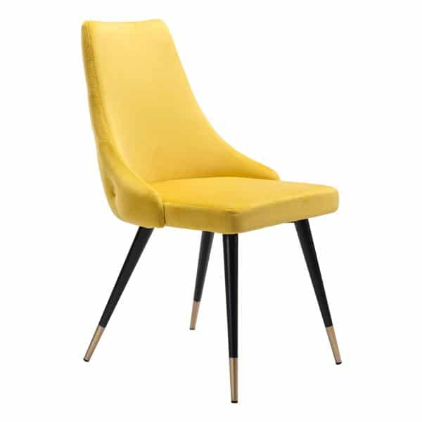Piccolo Dining Chair Yellow Velvet - Set of 2
