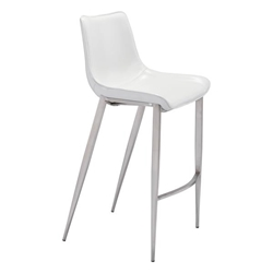Magnus Bar Chair White &  Brushed Stainless Steel