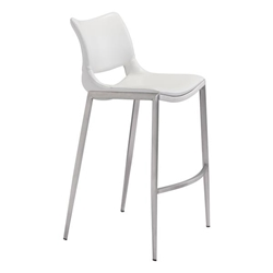Ace Bar Chair White &  Brushed Stainless Steel