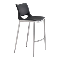 Ace Bar Chair Black &  Brushed Stainless Steel